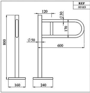 00163 UCHWYT PODŁOGOWY 600 mm - CHROM_1