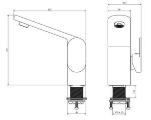 03001 Futura silver bateria umywalkowa, niska_1